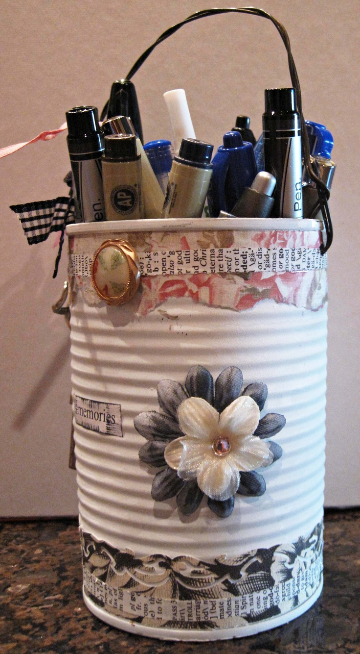 Just a can altered to hold my pens and pencils in my studio.