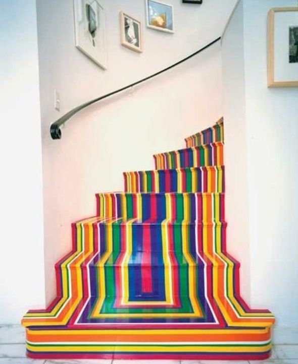 painted stairs, rainbow, home decor #creative #stairway