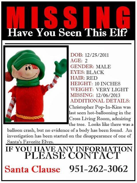 Elf On A Missing Poster Elf Ideas Pinterest December