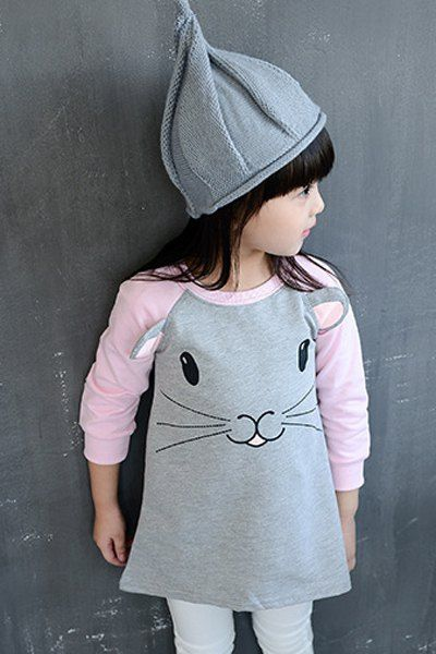 Cute Round Neck Long Sleeve Cartoon Mouse Print Girl's Dress
