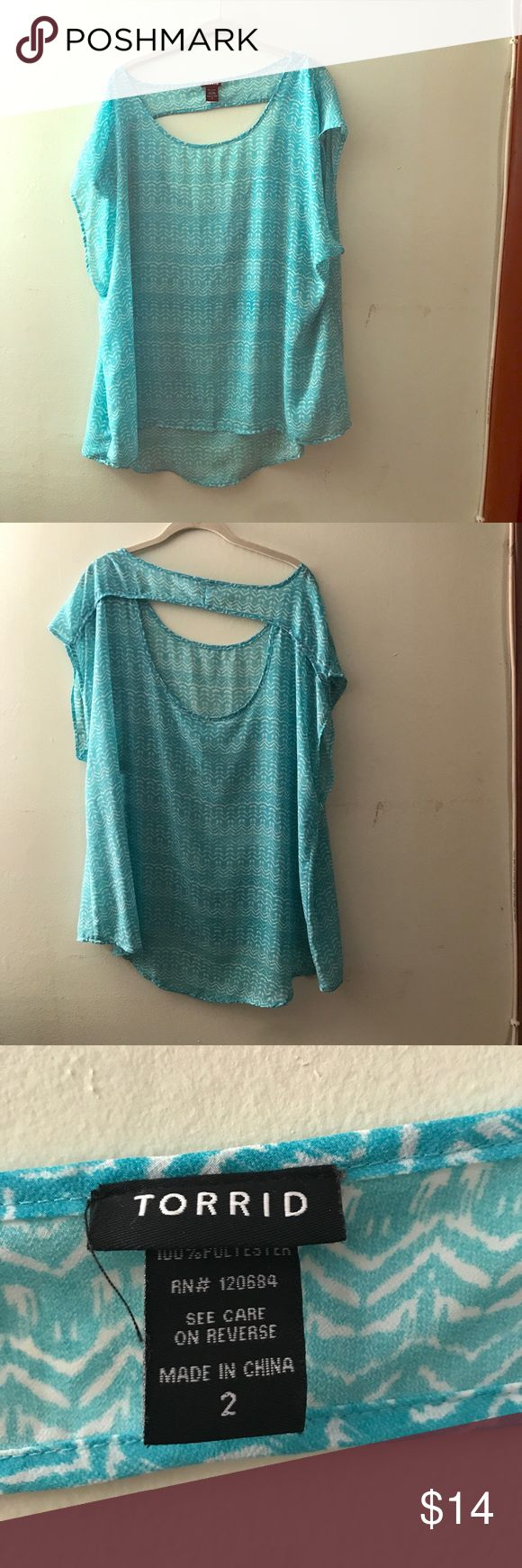 Summery turquoise blouse Adorable, Flowy, light shirt! Slightly open back, barely worn! Torrid size 2! Hi-low torrid Tops Blouses