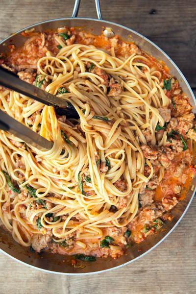 Pack a punch with this delicious arrabbiata sauce and spicy sausage pasta recipe! #italiansausage