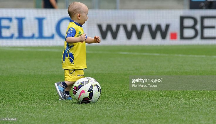A baby son of a player from AC Chievo Verona entered the game before before the Serie A match between AC Chievo Verona and Atalanta BC at Stadio Marc'Antonio Bentegodi on May 24, 2015 in Verona, Italy.