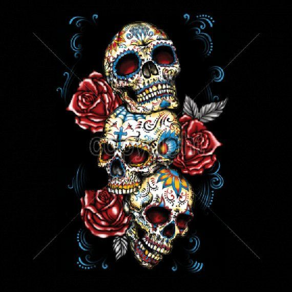 Day of the Dead Three Sugar Skull With Roses WOMANS SHORT SLEEVE T Shirt 17033