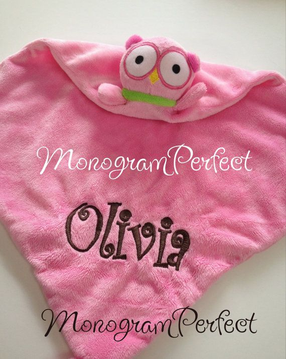 63 best personalized princess sisters images on pinterest child personalized blue or pink owl lovie security blanket great baby shower gift on etsy negle Choice Image