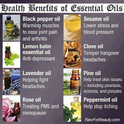 Benefits of ... Black pepper oil. Lemon balm oil. Lavender oil. Rose oil. Sesame oil. Clove oil. Pine oil. Peppermint oil.