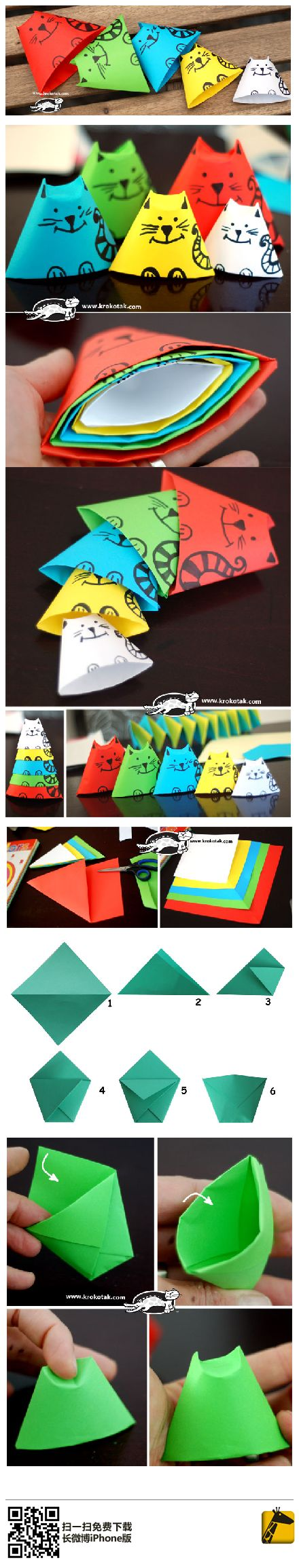 Kitty nesting dolls made out of paper