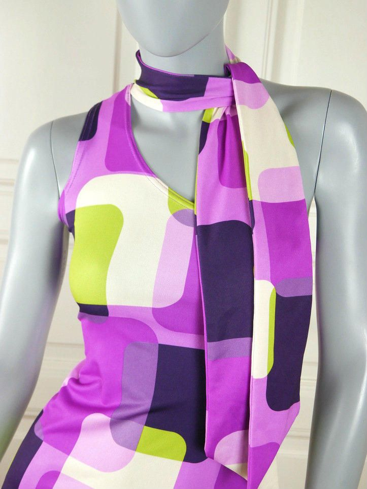 European Vintage One-Shoulder Sleeveless Dress, Purple Pink Lime Green Black White Geometric Pattern, Attached Scarf: Size 6 US, Size 10 UK by YouLookAmazing on Etsy