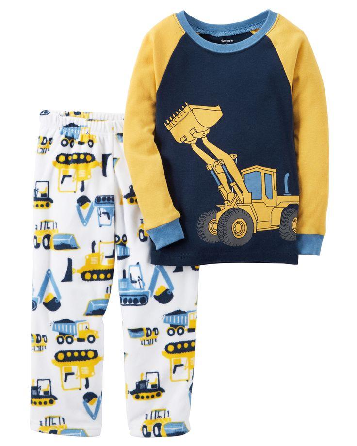 Toddler Boy 2-Piece Cotton & Fleece PJs | Carters.com