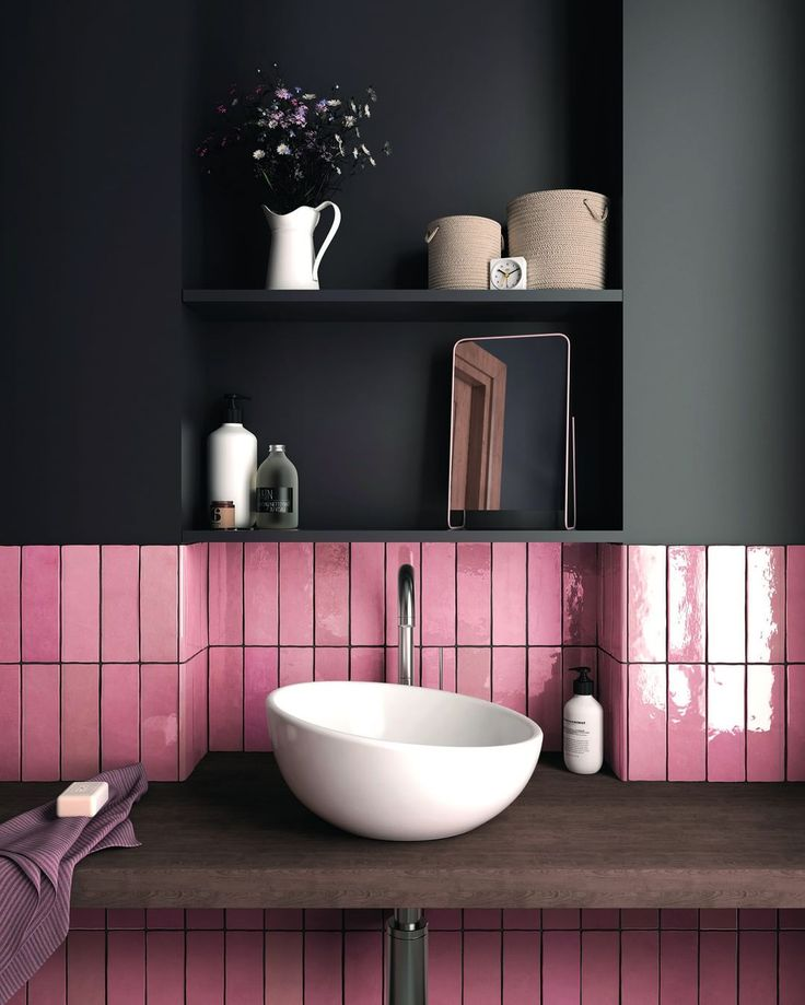 """Real Homes on Instagram: """"Pink metro tile might …"""