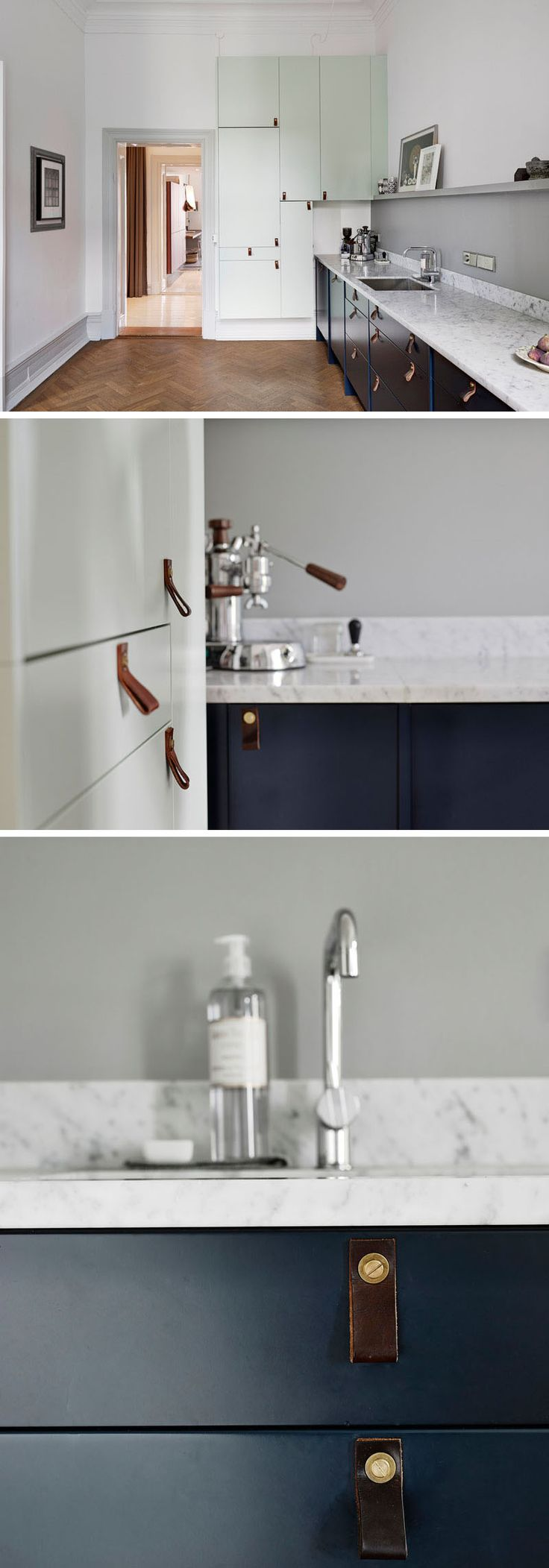 Kitchen Design Idea - Cabinet Hardware Alternatives // Create a Scandinavian look into your kitchen with leather cabinet pulls.