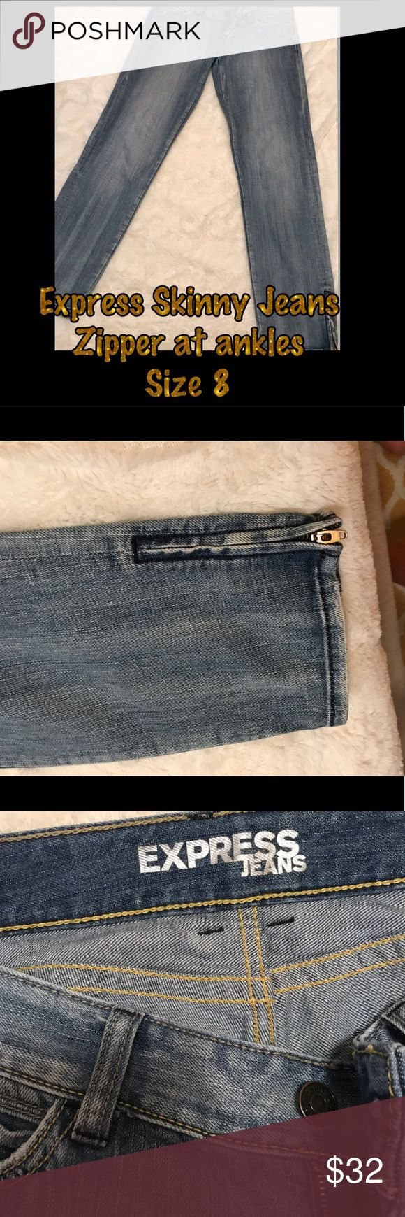 Express Skinny Jeans w/ zipper detail at ankles ECU never worn! 100% cotton jeans size 8 skinny jeans with zippers at ankles. Great jeans to pair with heels for a night out or sneakers for daytime. Express Jeans Skinny