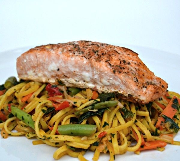 Healthy and Tasty Family Meal Recipe: Sweet Chilli Noodles with Curly Kale and Atlantic Salmon