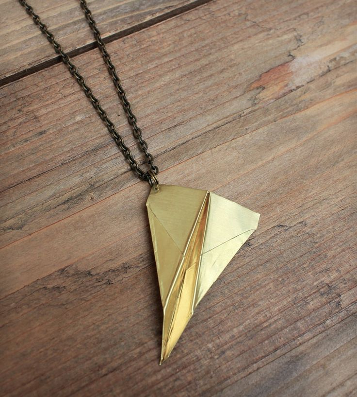 Brass Airplane Necklace
