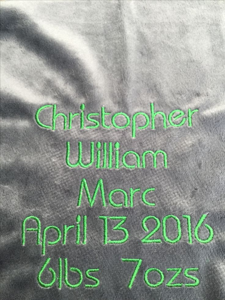 Embroidered on ribbon blanket I made for Christopher (friends baby) 2015