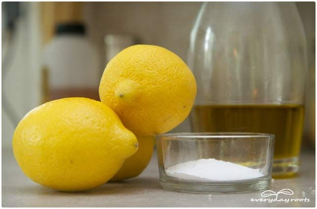 Callus remover technique #2:  You will need…   -several tablespoons of lemon juice   -2 teaspoons of olive oil   -Baking soda