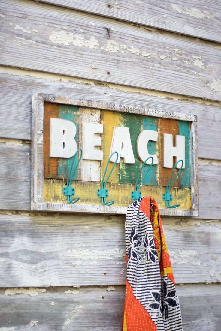 Wooden Beach Sign with Hooks More
