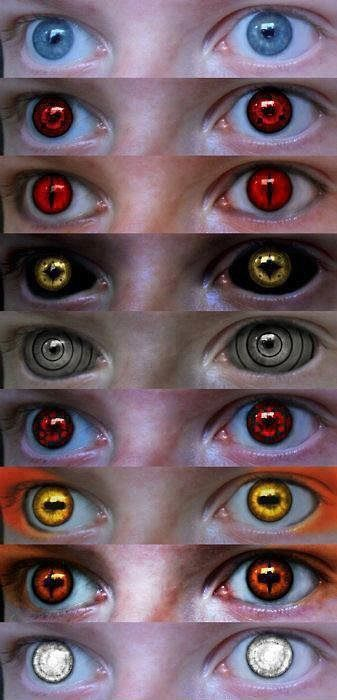 Naruto Contact Lenses. I want these. All of them ...if only they had prescription lenses