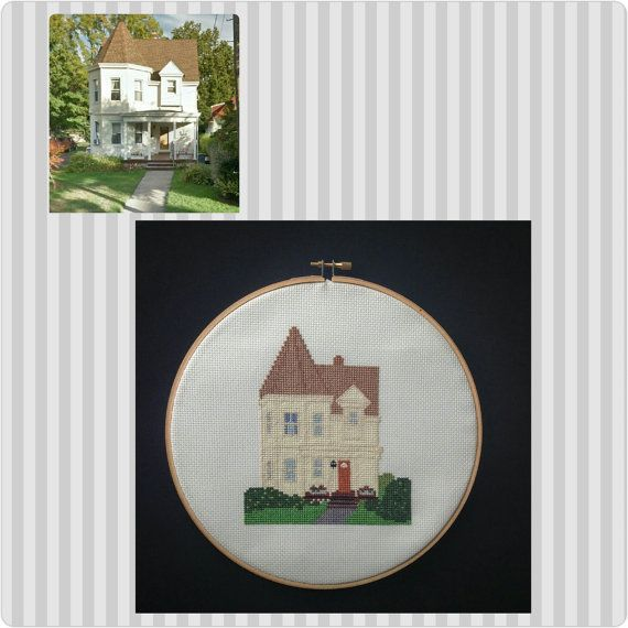 Completed Custom Cross Stitch of your Home or by peaceandstitches #custom #crossstitch #cross #stitch #engagement #wedding #anniversary #gift #present #unique #personalized #cotton #linen