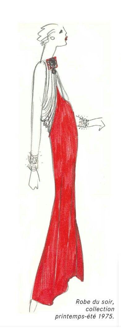 """Croquis d Yves Saint Laurent.  Haute couture été 1975. """"L oeuvre intégrale"""".  Fondation Pierre Bergé /Yves Saint Laurent."""