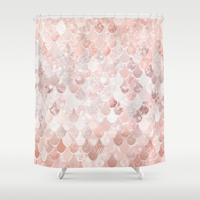 Mermaid Scales Pattern Blush Pink And Rose Gold Shower