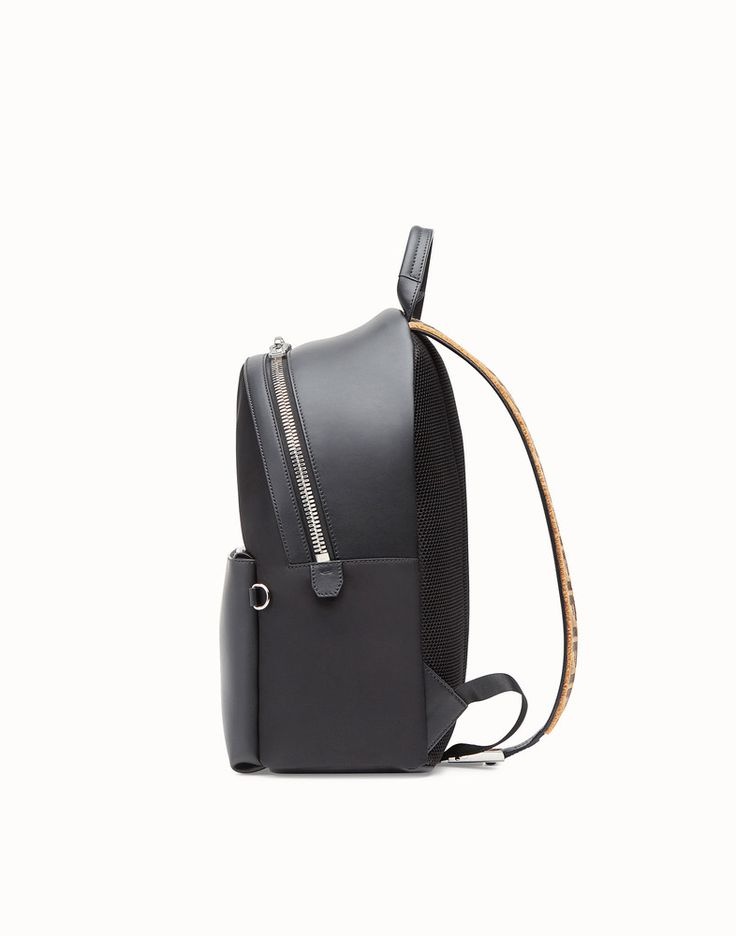 FENDI BACKPACK - Fabric and black leather backpack - view 2 detail