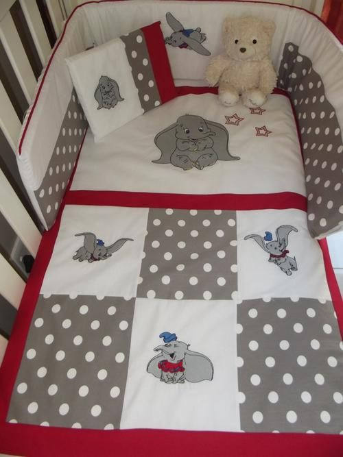 dumbo baby quilt cover | Emroidered Dumbo 7 Piece Baby Bedding Set