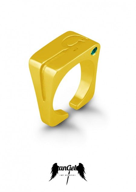 """""""G"""" Ring, with the monogram G engraved, which symbolizes the Gate to heaven. Gold Plated Silver, Emerald 0,08 ct. Click to find more jewellery pins! #style #design #ideas #jewellery #angelbystratis #voyjewellery #trends #fashion #womens fashion #love #stratis #stratisvoyiatzis #stratisvogiatzis"""
