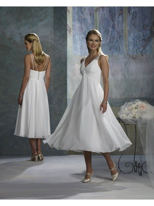 New Chiffon Sexy V Neck Rouched Bodice A Line Tea Length Short Bridal Dress Wf of quince possibility in a blue