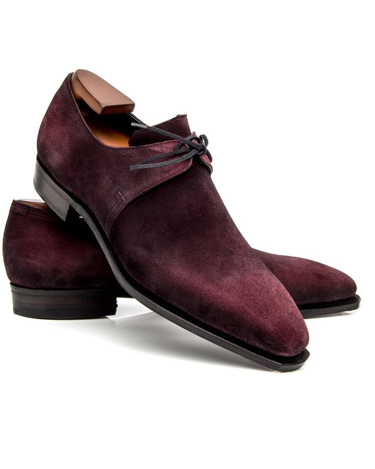 Corthay Plum Arca Pullman 	Suede leather upper 	Two-eyelets 	Inverted lacing 	Tapered toe 	Lace-up front 	Waxed flat laces 	Leather lining and sole 	Stacked heel 	Cushioned insole 	Wooden shoe trees included