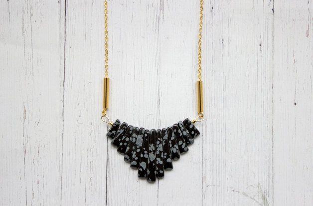 Statement Ketten - Schneeflocken Obsidian Statement Kette - ein Designerstück von Kalinkati bei DaWanda