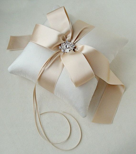 Jeweled Ivory Dupioni and Caramel Satin Ribbon Ring Pillow