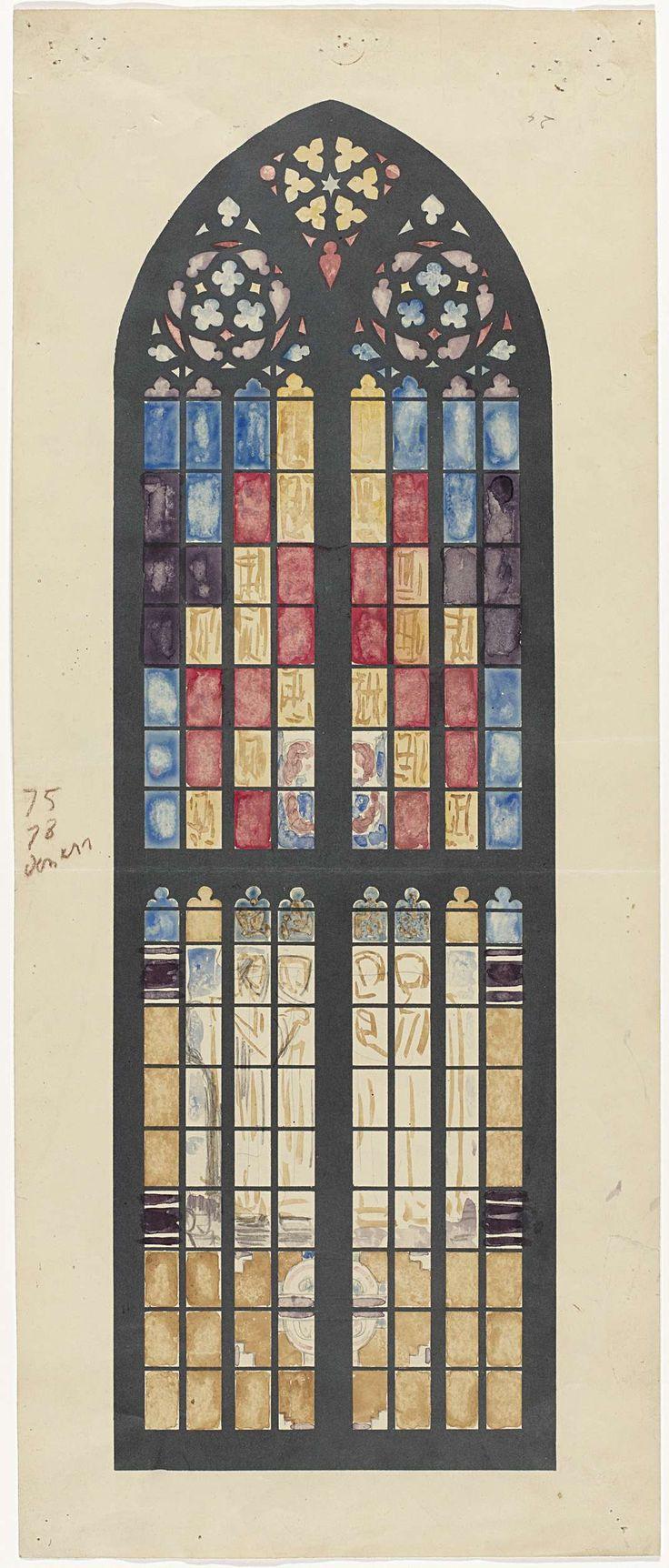 Ontwerp voor raam in het Zuidertransept van de Dom te Utrecht, Richard Roland Holst (1868-1938). Het venster met de vier evangelisten in de Domkerk dateert van 1926.