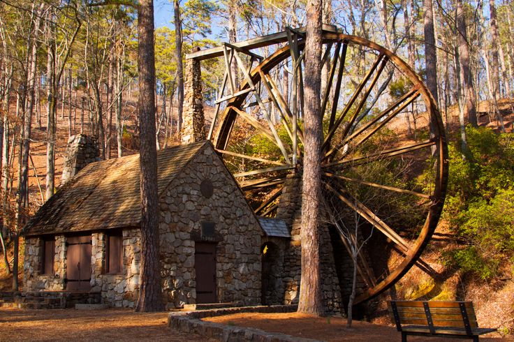 Old Mill  Constructed in 1930, the Old Mill boasts an iron hub which had originally been of service at Hermitage, an early manufacturing community near the Shannon village between Rome and Calhoun, Georgia, and was a gift to Berry from The Republic Mining (bauxite) and Manufacturing Company. Henry Ford had the hub moved to Berry where the wheel was rebuilt.