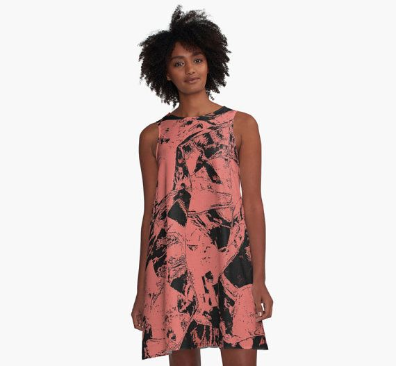 A-line Printed Dress, Grunge Pink & black, oversized dress, oversize tunic, loose dress, casual dress, sporty look, unique pattern straight form artists, summer look.  AD00...