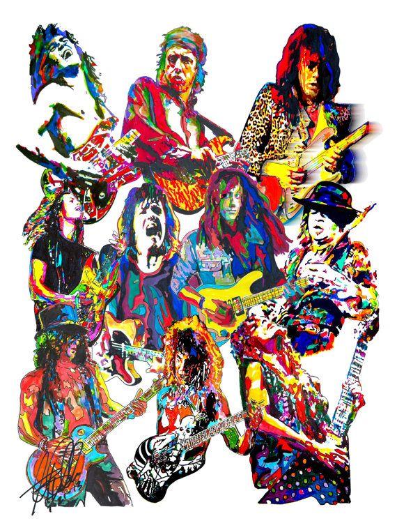 80's Guitar Players, Eddie Van Halen, Mark Knopfler, Kirk Hammett, Gary Moore, Randy Rhoads, Slash, SRV, POSTER w/COA