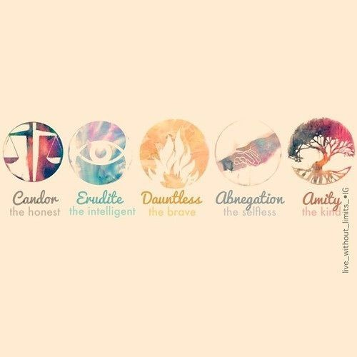 Candor, Erudite, Dauntless, Abnegation, Amity...... There should be a symbol for Divergent.