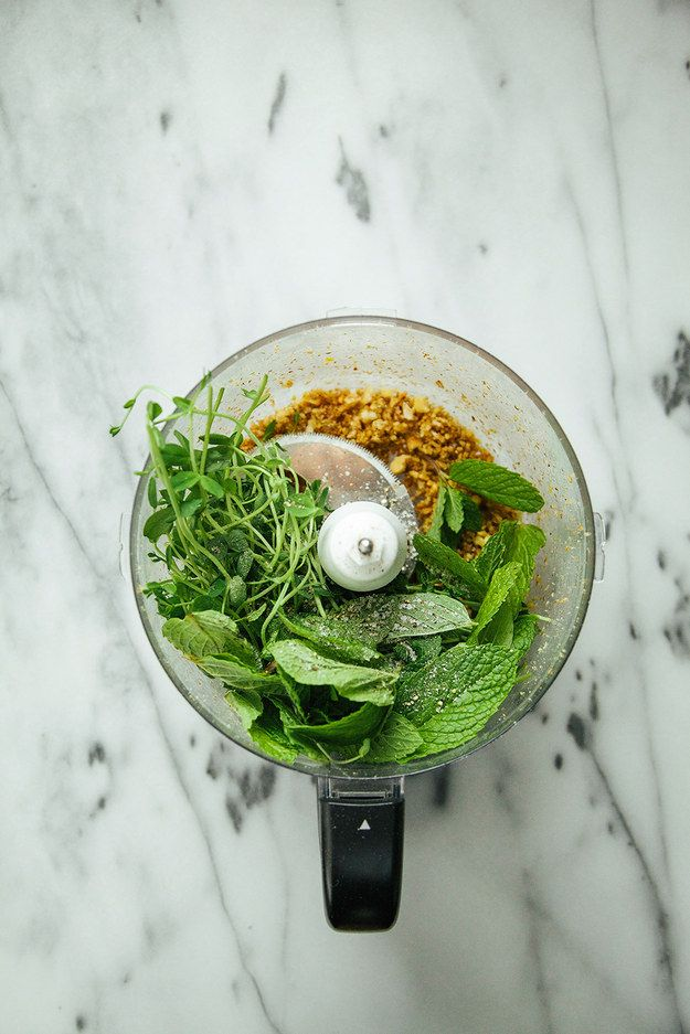 Then add pea shoots, mint leaves, and salt and pepper. Pulse again… | Delicious 5-Ingredient Vegan Pesto You Can Put On Everything