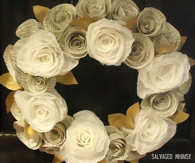 Rolled paper wreath with old book paper and coffee filters