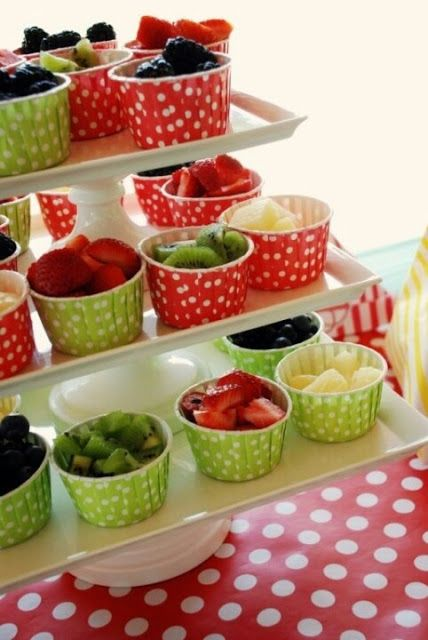 Fresh Ideas for Serving Fruit Forget the sugary sweets; here is a fresh idea for serving fruit at your next event. Serve fresh fruit in ice cream vessels for a creative and healthy alternative to all those sweets.