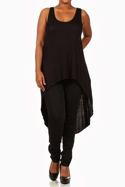 Camisole noire Longue et high-low Disponible en tailles 2x et 3x Black Cami Long and high-low Available in sizes 2x and 3x