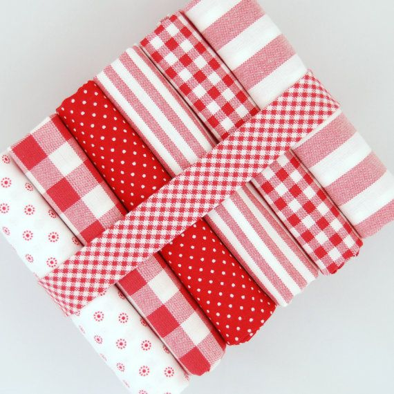 Valentine Red Fat quarter fabric bundle - 100% cotton - Romantic gifts hearts bunting decoration quilt patchwork doll toy