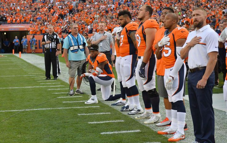 NFL players' national anthem protests   -  Sep 8, 2016; Denver, CO, USA; Denver Broncos inside linebacker Brandon Marshall (54) kneels during the national anthem before the game against the Carolina Panthers at Sports Authority Field at Mile High.