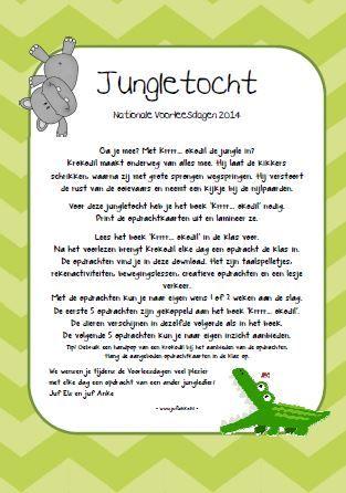 Jungletocht bij het boek Krrrr...okodil. Nationale Voorleesdagen 2014. Elke dag een leuke opdracht. Jufanke.nl