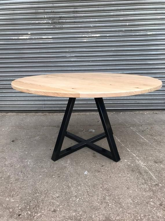 Industrial Chic Round Full Stave Oak Dining Table W Criss Etsy
