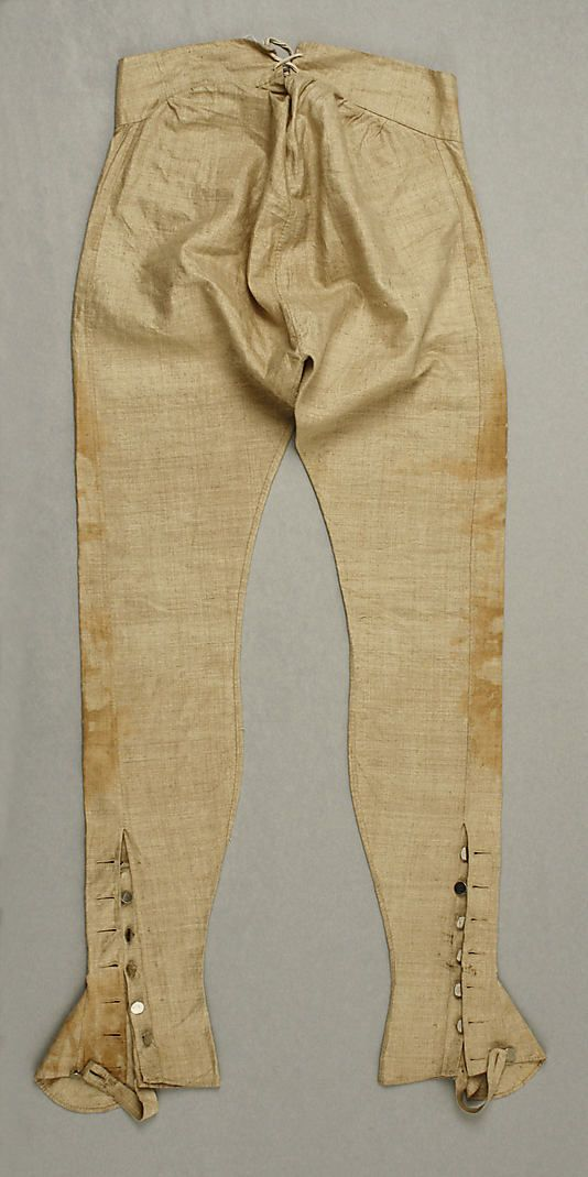 Trousers ca. 1793 European linen Dimensions: Length at Side Seam: 43 in. (109.2 cm)