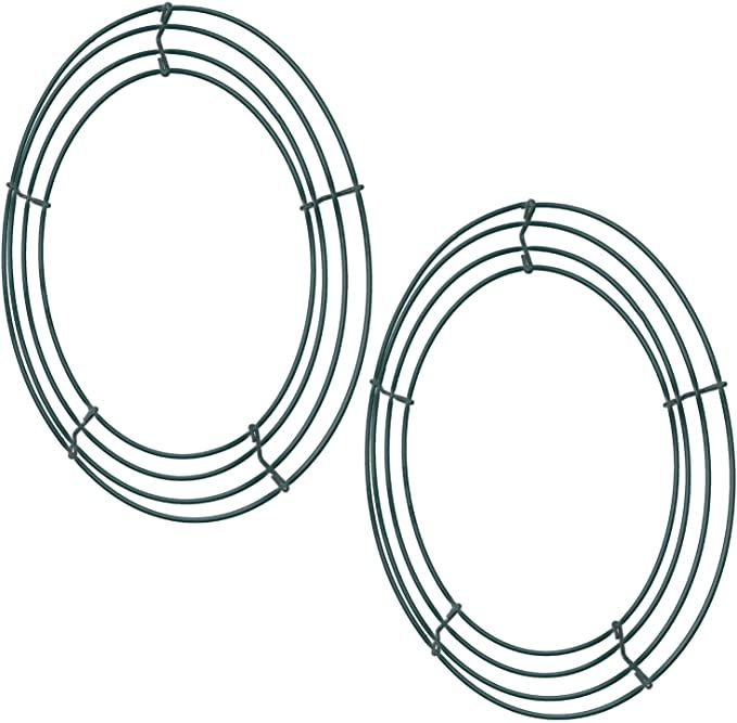 Amazon Com Sumind 2 Pack Wire Wreath Frame Wire Wreath Making Rings Green For New Year Valentines Decoratio In 2020 Wire Wreath Frame Metal Wreath Frame Wreath Frames