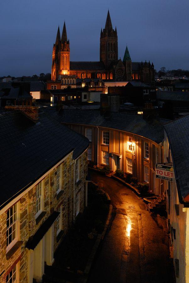 Truro Cathedral at Dusk, Cornwall, England