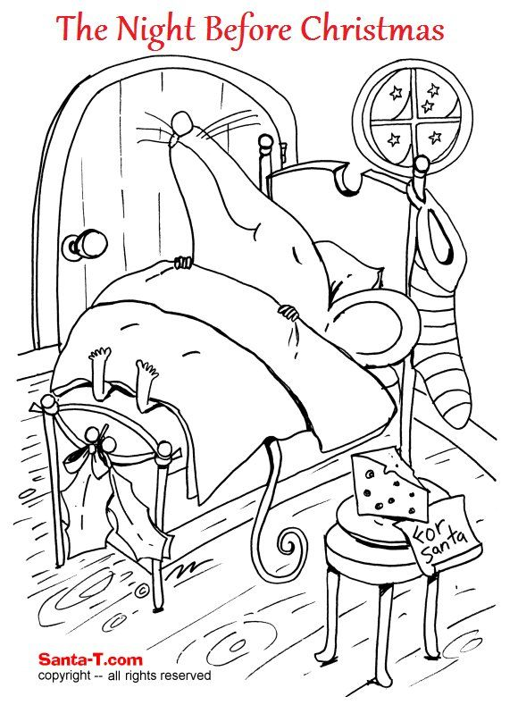 The Night Before Christmas Coloring Page Printout More Fun Holiday Activities At SantaTimes