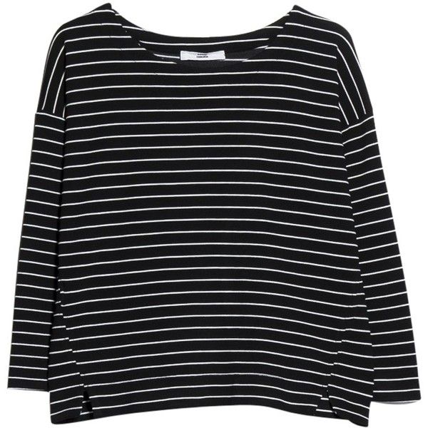 Mango Striped Textured Jumper, Black ($24) ❤ liked on Polyvore featuring tops, sweaters, shirts, long sleeves, black striped shirt, black jumper, black sweater, striped long sleeve shirt and long short sleeve shirts
